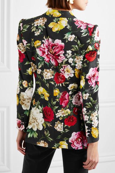 Dolce & Gabbana Blazer aus Stretch-Baumwolle mit Blumenprint