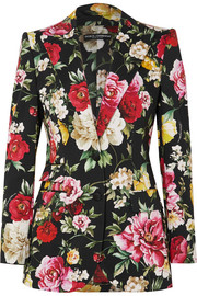 Floral-print stretch-cotton blazer