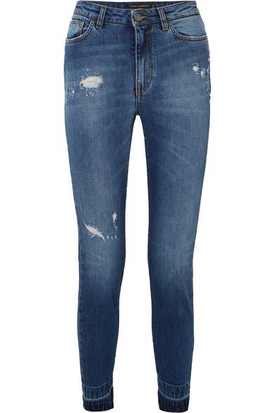 Dolce & Gabbana Hoch sitzende Jeans mit schmalem Bein in Distressed-Optik mit Applikation