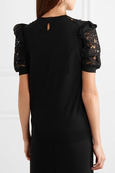 Dolce & Gabbana Oberteil aus einer Wollmischung und Spitze mit Georgette-Besatz