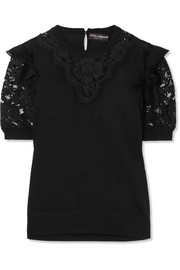 Dolce & Gabbana Ruffled georgette-trimmed lace and wool-blend top