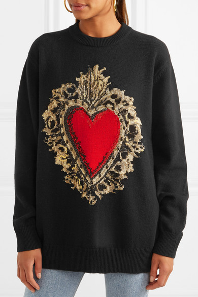 Dolce & Gabbana Pullover Of A Wool Blend Inlaid Pattern