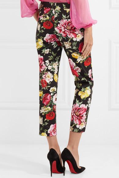 Dolce & Gabbana Hose mit geradem Bein aus Stretch-Baumwolle mit Blumenprint