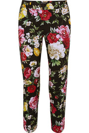 Floral-print stretch-cotton straight-leg pants
