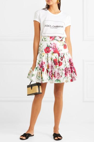 Dolce & Gabbana Minirock aus Baumwolle mit Blumendruck
