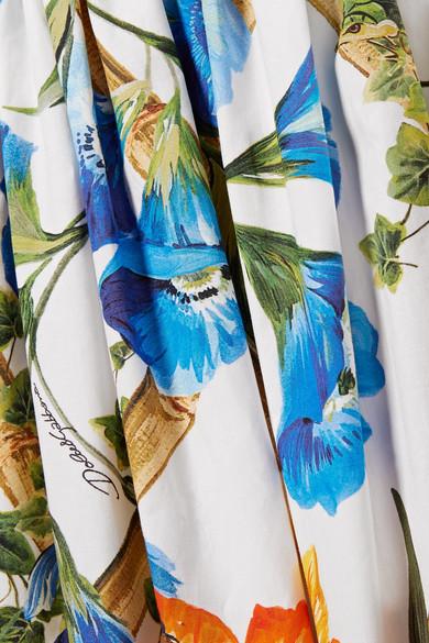 Dolce & Gabbana Gestufter Maxirock aus Baumwollpopeline mit Print Freies Verschiffen Auslass ZSX3R