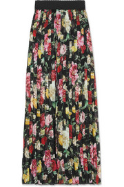 Pleated floral-print silk-chiffon midi skirt