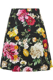 Button-detailed floral-jacquard mini skirt