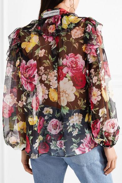 Dolce & Gabbana Schluppenbluse aus Seidenchiffon mit Blumendruck