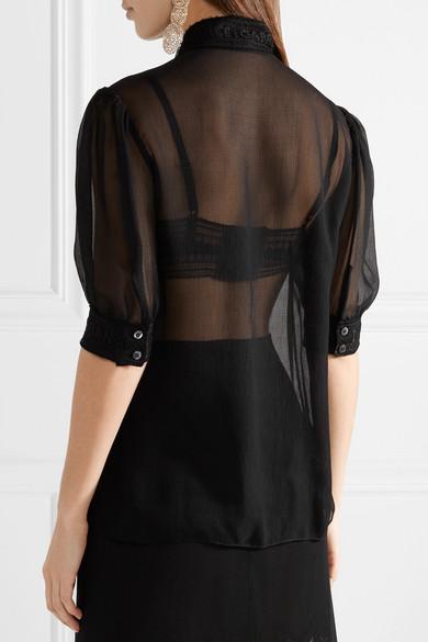Dolce & Gabbana Bluse aus Georgette aus einer Seidenmischung mit Spitzenbesatz