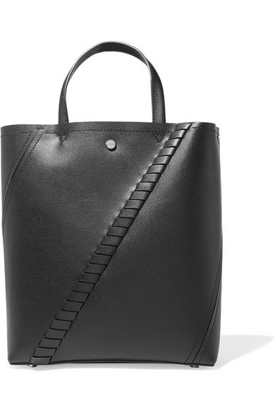 Hex paneled leather tote