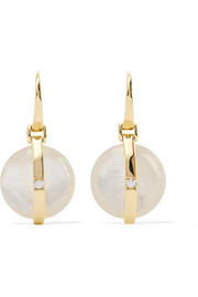 Boucles d'oreilles en or 18 carats, nacre et diamants Senso