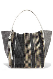 Leather-trimmed woven tote