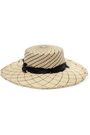 Feather-trimmed toquilla straw hat