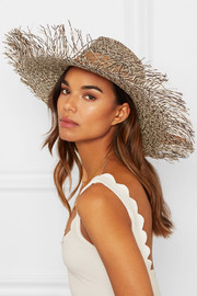Two-tone frayed toquilla straw hat