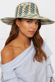 Rose cutout checked toquilla straw Panama hat