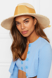 Frayed toquilla straw hat