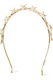 Da Vinci gold-plated faux pearl headband