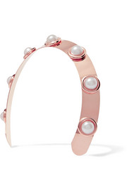 LELET NY Oculous rose gold-plated faux pearl headband