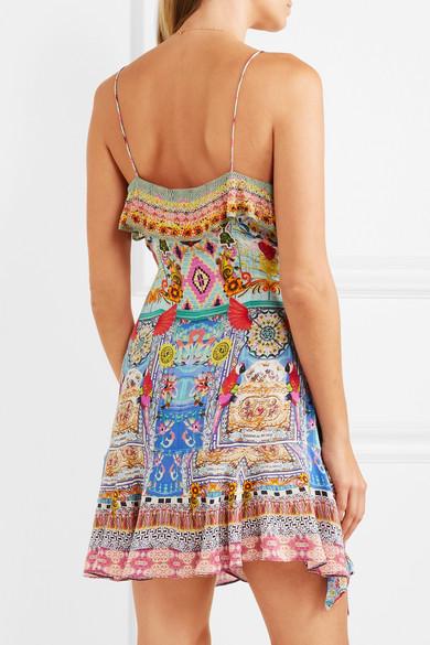 Camilla Rio verziertes Wickelkleid aus bedrucktem Crêpe de Chine aus Seide