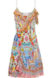 Embellished printed silk-georgette wrap dress