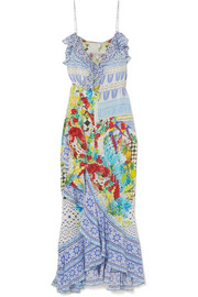 Rio crystal-embellished printed silk crepe de chine maxi dress