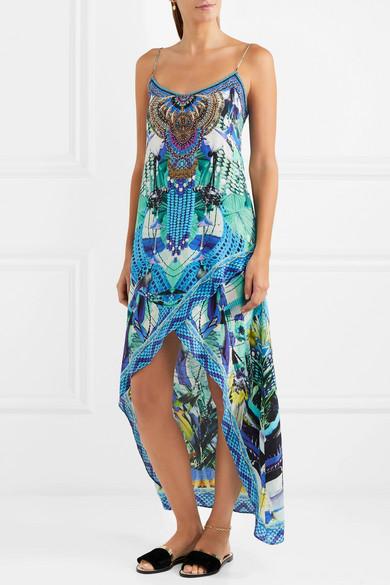 Camilla Rio bedrucktes Kleid aus Crêpe de Chine aus Seide mit Verzierungen