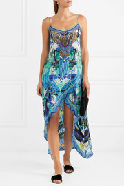 Embellished printed silk crepe de chine dress