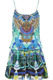 Embellished printed silk-georgette playsuit