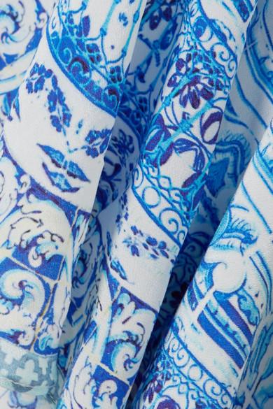 Camilla Rio verziertes Maxikleid in Wickeloptik aus bedrucktem Crêpe de Chine aus Seide