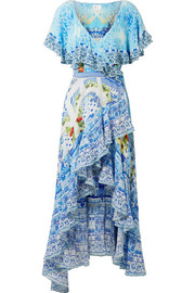 Rio crystal-embellished printed washed-silk wrap maxi dress