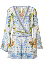 Crystal-embellished printed washed-silk playsuit