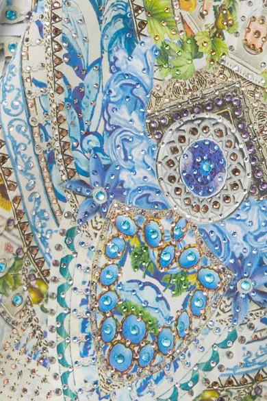 Camilla Rio verzierter Kaftan aus bedrucktem Crêpe de Chine aus Seide