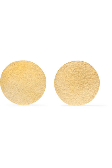 Annie Costello Brown - Disc Gold-tone Earrings