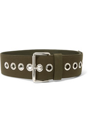 Canvas and leather waist belt