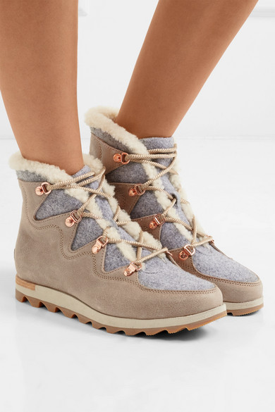 Sorel Sneakchic Alpine Shearling Lined Felt And Suede