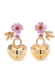 Gold-tone and enamel clip earrings