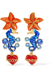 Dolce & Gabbana Gold-tone, enamel and crystal clip earrings