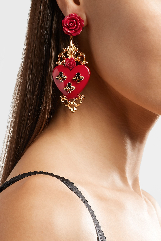 Dolce & Gabbana Gold-plated resin clip earrings