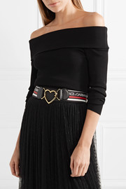 Dolce & Gabbana Leather-trimmed intarsia stretch-knit belt