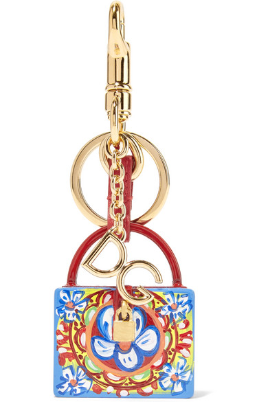 Dolce & Gabbana Printed Textured-leather Keychain - Yellow alZl7AUO2