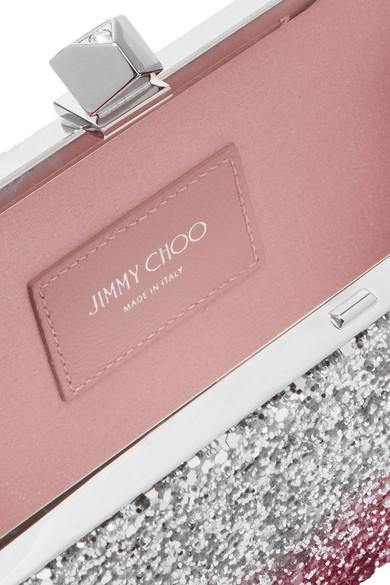 Jimmy Choo Celeste zweifarbige Clutch aus Canvas mit Glitter-Finish