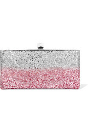 Celeste two-tone glittered canvas clutch