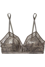 Farniente Mimosa silk-blend satin and stretch-lace soft-cup triangle bra