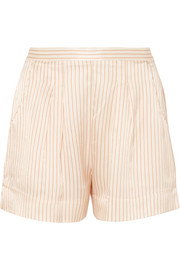 Riga Frutti striped silk-seersucker pajama shorts