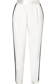 Fleur Du Mal Faille-trimmed silk crepe de chine straight-leg pants