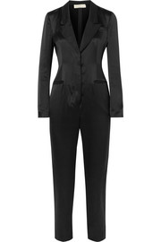 Faille-trimmed silk-satin jumpsuit