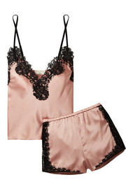 Fleur Du Mal + Kilian lace-trimmed stretch silk-satin pajama set