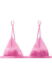 Fleur Du Mal Stretch-silk satin soft-cup triangle bra
