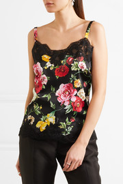 Dolce & Gabbana Lace-trimmed floral-print silk-blend satin camisole